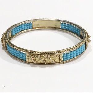 Boho turquoise teal gold fashion bangle bracelet